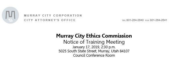 Murray City Ethis Commission Notice of Training Meeting
